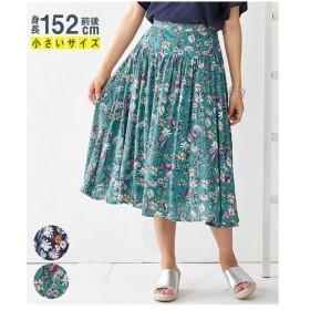 スカート ロング丈 マキシ丈 小さいサイズ レディース 切替 デザイン ギャザー ロング  SS/S/M/L ニッセン