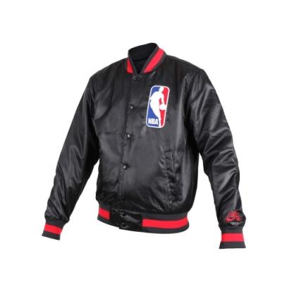 NIKE 男NBA防風棒球外套-風衣外套 籃球 保暖外套 鋪棉 黑紅