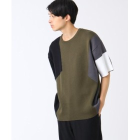 (tk. TAKEO KIKUCHI/ティーケー タケオキクチ)ジグザグインターシャードッキング 半袖プルオーバー/メンズ カーキ(527) 送料無料