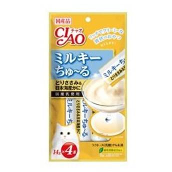 いなば CIAO チャオ ちゅーるミルキーちゅーるとりささみ&日本海産かに14g×4本