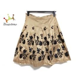 トッカ TOCCA スカート サイズ0 XS レディース 美品 ブラウン×黒 花柄/刺繍  値下げ 20191003