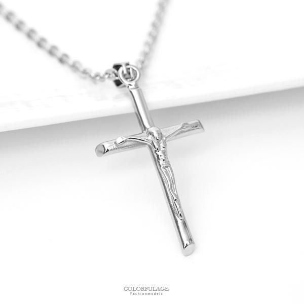 項鍊 耶穌十字架鋼製項鍊【NB812】