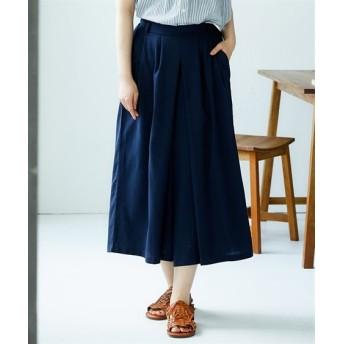 綿麻タックスカーチョ (レディースパンツ),pants