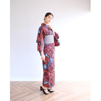 浴衣 - kimonocafe レディース 浴衣 単品 花火 ブルー ホワイト Sサイズ フリーサイズ TLサイズ ワイドサイズ