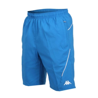 KAPPA 男單層短褲-平織 慢跑 路跑 寶藍白