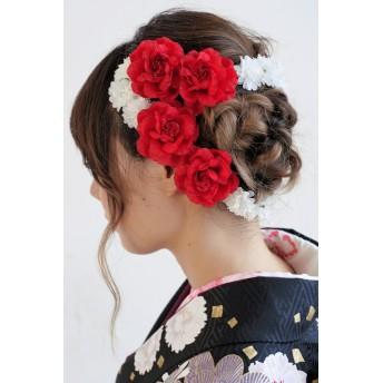 和装小物 - SOUBIEN 髪飾り 成人式 振袖 浴衣 七五三 結婚式 赤 花 フラワー薔薇 カチューシャ フラワークラウン ワイヤー 髪留め 髪かざり 振り袖 ヘアアクセサリー