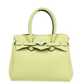 《セール開催中》SAVE MY BAG レディース ハンドバッグ ビタミングリーン ポリエステル 50% / ナイロン 40% / ポリウレタン 10%