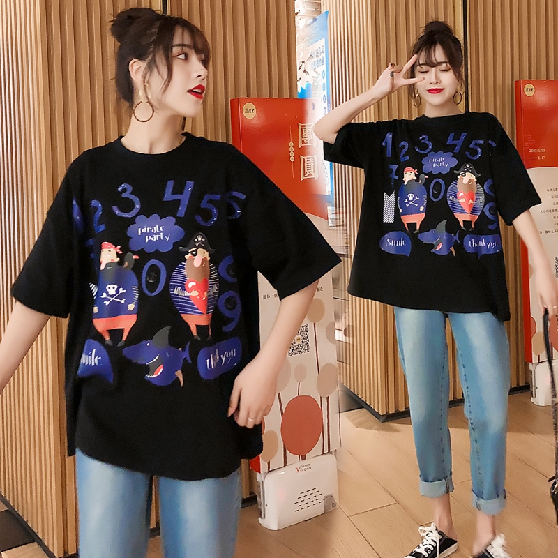 M-4XL大尺碼衣著M-4XL 大尺碼2019新款時尚韓版印花字母數字潮流白色 t恤 東大門 滾邊 t恤寬鬆服飾