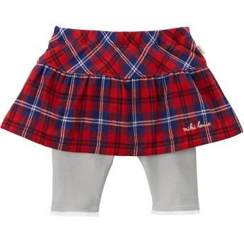 ミキハウス スカート付8分丈パンツ 赤