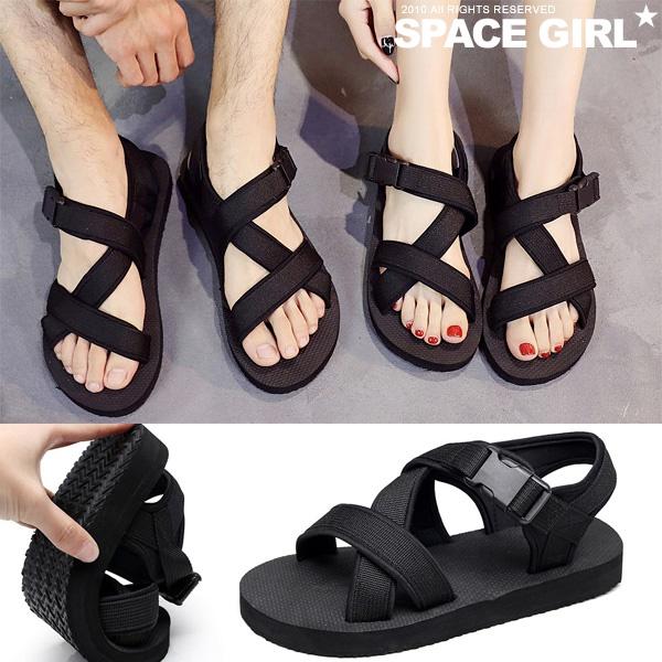 [Space Girl]輕鬆舒適釦帶防水情侶涼鞋