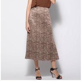 【J Lounge:スカート】ピーチサテンレオパードフレアスカート