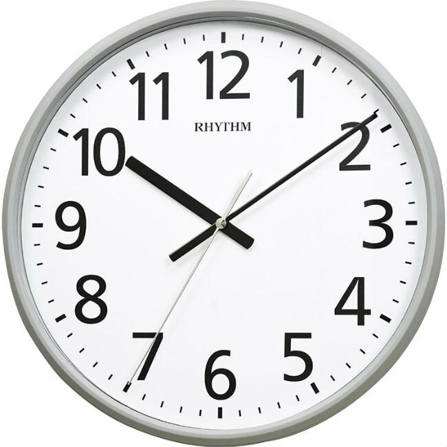 RHYTHM 麗聲鐘(CMG545) 時尚灰圓形掛鐘/36cm