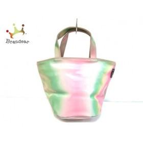 アニエスベー agnes b ハンドバッグ ライトグリーン×ピンク 化学繊維 新着 20190708