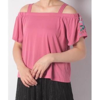 (FINE OUTLET/ファインアウトレット)【Green Parks】・RAY ストラップオフショル袖花刺繍/レディース ピンク