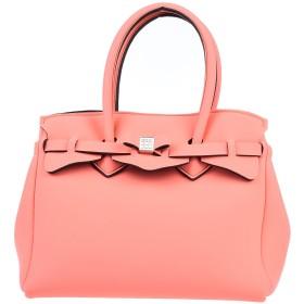 《セール開催中》SAVE MY BAG レディース ハンドバッグ サーモンピンク ポリエステル 50% / ナイロン 40% / ポリウレタン 10%