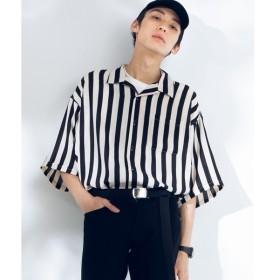 [マルイ]【セール】ワイドストライプ開襟5分袖オーバーシャツ/ウィゴー(メンズ)(WEGO
