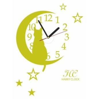 HARRY ウォールステッカー 時計付き 貼ってはがせる 転写式 猫とお月さま/シトロン 約45cm×45cm