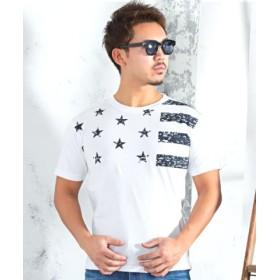(LUXSTYLE/ラグスタイル)星条旗モチーフ半袖プリントTシャツ/メンズ ホワイト