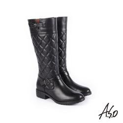 A.S.O 經典格紋 中性風真皮時髦長靴-黑