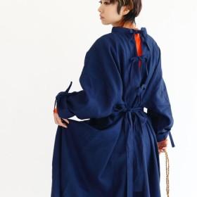 天然藍染ベルギーリネン2WAYコートワンピース:ajisai(ネイビー)