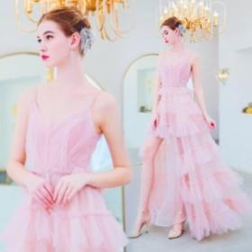 【ANGEL】肌透けチュールフリルキャミソール背中編上げAラインロングドレス【送料無料】高品質 ピンク ロングドレス パーティードレス
