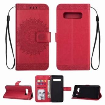 Samsung GalaxyS8 ケース GalaxyS8Plusケース スマホケース 手帳型 ケース 曼荼羅模様 マンダラ型押し 財布 カバー カワイイ オシャレ