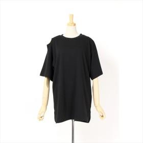 Tシャツ - amiette 肩開き デザインカットソー アシメ ショルダースリット チュニック 半袖 Tシャツ レディース
