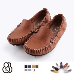 【88%】休閒鞋-MIT台灣製 皮質鞋面 舒適乳膠鞋墊 簡約套腳 懶人鞋 豆豆鞋