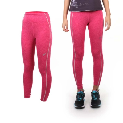 ASICS 女背部保暖緊身長褲-路跑 慢跑 運動 健身 亞瑟士 桃紅橘