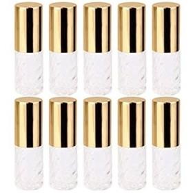 10個 5ml 透明 交換 旅行 空 ロールオン ガラス 香水瓶 容器 コスメ 詰替え 便利