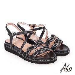 A.S.O 炫麗魅惑 亮麗璀璨平底涼拖鞋 黑