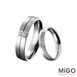MiGO 珍愛施華洛世奇美鑽/白鋼成對戒指
