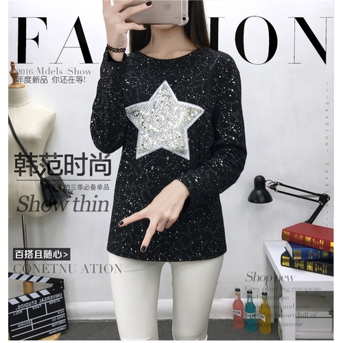 M-4XL大尺碼衣著新款五角星星亮片長袖胖MMT恤韓國女裝加肥加大打底衫