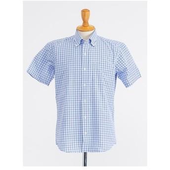 半袖 ツートンギンガムチェック ボタンダウンシャツ(ブルー)【TEIJIN MEN'S SHOP】