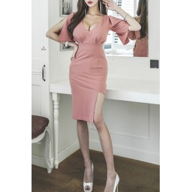 ドレス - Royal Cheaper 【AMANDA】【S.M】フレア袖スリット入りVラインドレスワンピ