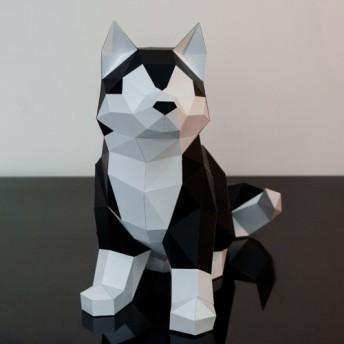 DIY手作り3D紙モデル装飾犬シリーズウズラの卵かわいいハスキー(3色オプション)