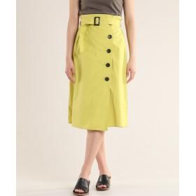 CLEAR IMPRESSION エステネージュUV サイドボタンスカート ひざ丈スカート,カラシ2