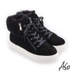 A.S.O 華麗保暖雙拉鍊絨面皮休閒鞋-黑
