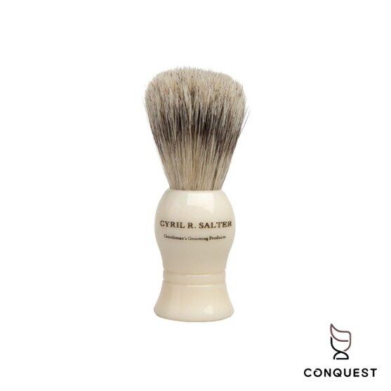 【 CONQUEST 】英國 Cyril R Salter 仿象牙白手工刮鬍刷 鬍刷 鬍泡刷 Shaving Brush