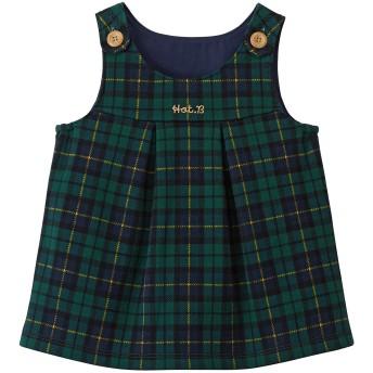 ミキハウス ジャンパースカート 紺×グリーン