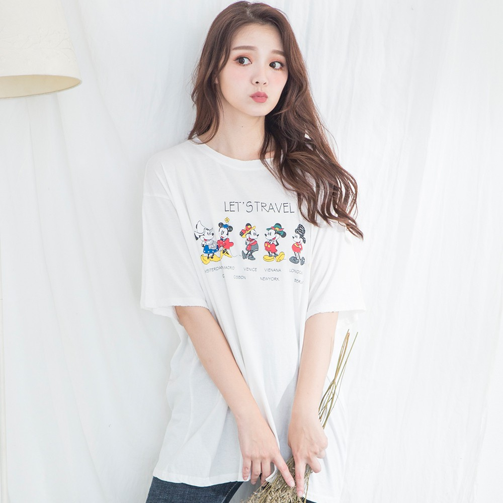 【Wonderland】韓版寬鬆卡通印花圓領T-shirt(4色)