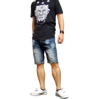 ショートパンツ - EVERSOUL ショートパンツ デニム メンズ デニムショートパンツ ハーフパンツ 五分丈 5分丈 ストレッチ ダメージ カモフラ 迷彩 ウォッシュ