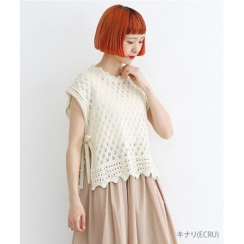 メルロー 透かし柄編みコットンニットベスト レディース キナリ FREE 【merlot】