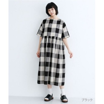 メルロー コットンリネンブロックチェックワンピース レディース ブラック FREE 【merlot】