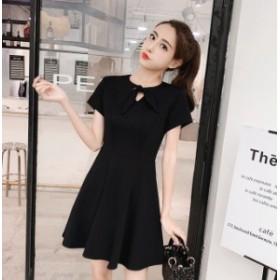 夏 人形スタイル リボンカラー フェニミン シフォンドレス 女性 黒 赤 S M L XL 2XL 3XL
