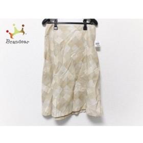 シビラ Sybilla スカート サイズL レディース ベージュ×ライトブラウン×マルチ チェック柄  値下げ 20191014