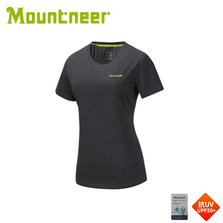 【Mountneer 山林 女 排汗抗UV圓領上衣《黑》】31P36/短袖/排汗衣/運動短袖/登山露營