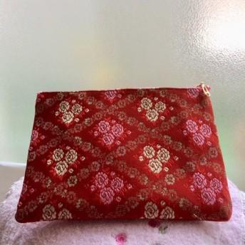 金襴 四角ポーチ 赤の花柄 格子金糸刺繍 20cm 49