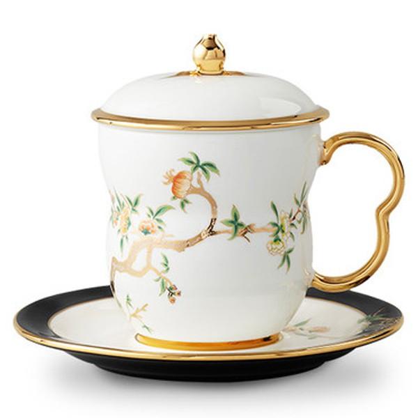 5Cgo國瓷夫人瓷石榴家園陶瓷杯子馬克杯咖啡杯辦公室泡茶杯手工描金禮盒裝釉中彩釉中金黑白宮廷風558140505463