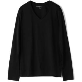 ESTNATION VネックロングスリーブTシャツ GIZAndyシリーズ ブラック/LARGE(エストネーション)◆メンズ Tシャツ/カットソー